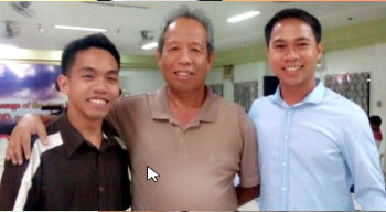 At the Cross Reign Church w/ Sander Doy (on the left), Sir Boy Oczon, KC '72 (at the center) and myself(on the right)