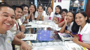 "Felanie in a group picture with her chapter-mates during the ""How to lead a small group"" training with Darby"